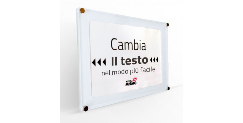 Targa in Plexiglass con Testo Intercambiabile