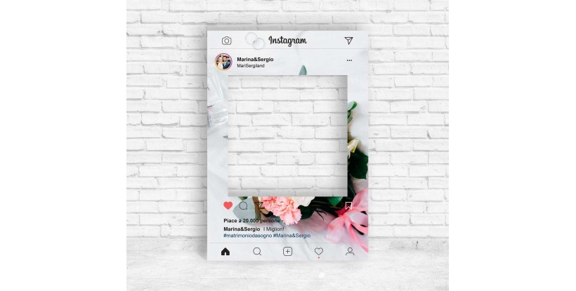 Cornice Instagram con Ramo di Fiori per Photobooth
