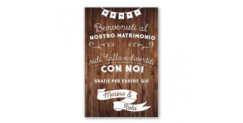 Cartello Benvenuti al Matrimonio in Legno con i Nomi